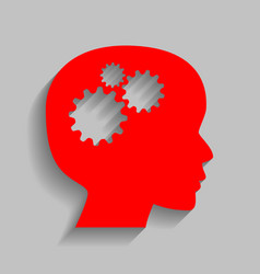 thinking head sign red icon with soft vector image