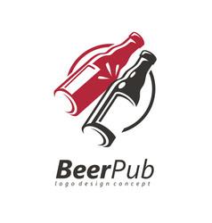 toasting beer bottles logo design idea vector image