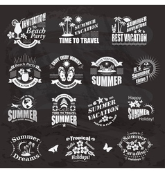 Travel and vacation labels on the chalkboard vector image