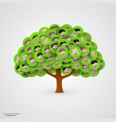 tree smiling happy family faces vector image