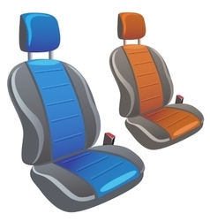 Two car sport seats in different colors vector image
