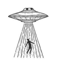 ufo kidnaps human sketch engraving vector image