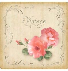 Vintage retro flowers roses postcard border frame vector image