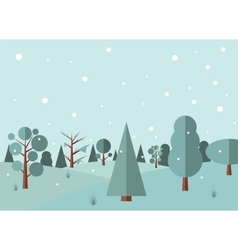Winter forest flat background vector image