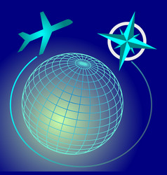 Wireframe blue and green glowing globe on dark vector