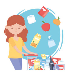 Woman cartoon with full supermarket cart food vector