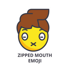 Zipped mouth emoji line icon sign vector