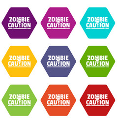 Zombie horror icons set 9 vector