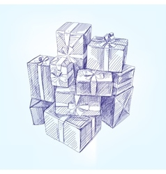 gift box hand drawn llustration realistic vector image vector image