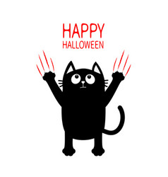 Happy halloween black cat claw red scratch glass vector