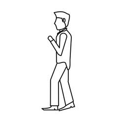 portrait groom man outline vector image