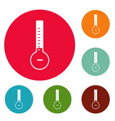thermometer cold icons circle set vector image
