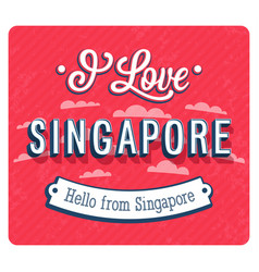 vintage greeting card from singapore vector image