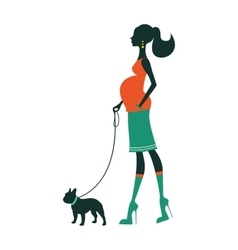 Beautiful woman silhouette with french bulldog vector image vector image