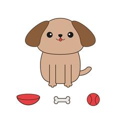 Little glamour tan shih tzu dog ball toy bone bowl vector