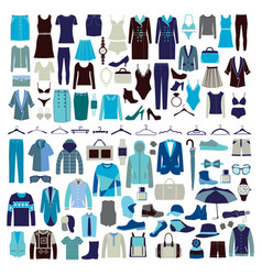 men and women clothes icon set vector image