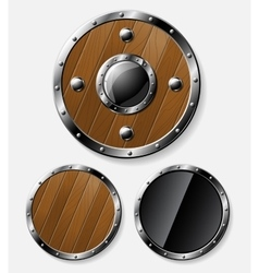 Set of round shields isolated on grey vector image vector image