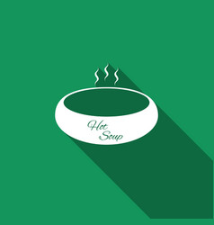 bowl of hot soup icon with long shadow vector image vector image