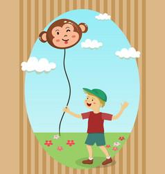boy holding monkey balloon vector image