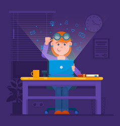 freelancer working at night concept young woman vector image vector image