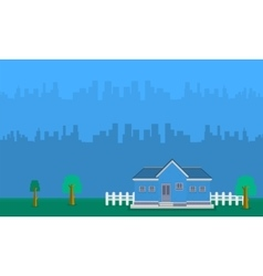 Landscape of house with building vector image vector image