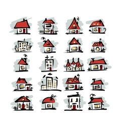 Set of houses sketch for your design vector image vector image