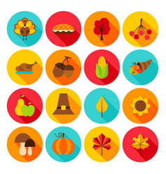 thanksgiving day flat icons vector image vector image