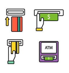 atm pos-terminal with hand credit card icons vector image vector image