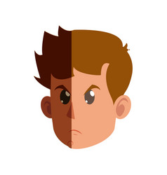 character face head kid boy angry vector image