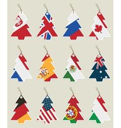 Christmas tree flag tags vector