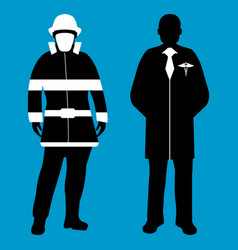 doctor and fireman silhouette icon service 911 vector image vector image