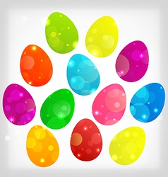 Easter background with colorful eggs vector image vector image