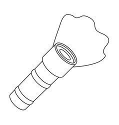 flashlight icon in outline style isolated on white vector image