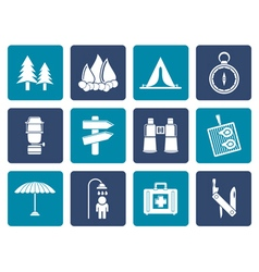 Flat Camping travel and Tourism icons vector image