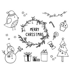 hand drawn of design christmas elements vector image vector image