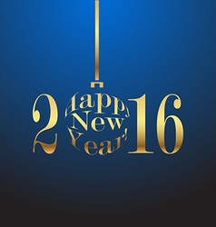 Happy New Year 2016 gold lettersn on a blue vector image vector image