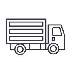 mini truck line icon sign on vector image