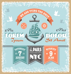 Nautical Wedding Invitation 2 xs vector image vector image