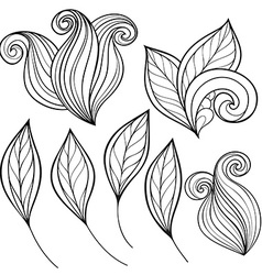 Set of Monochrome Contour Leaves vector image