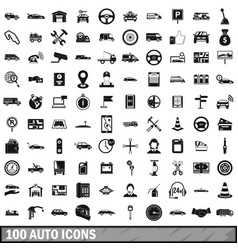 100 auto icons set simple style vector image