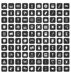 100 paint school icons set black vector
