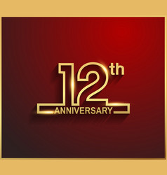 12 anniversary line style golden color vector