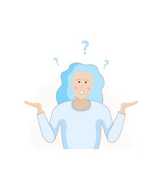 A woman is shrugging with a curious expression vector