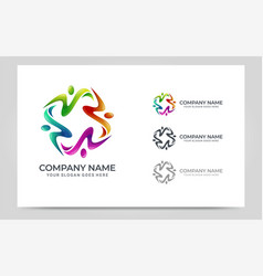 Abstract logo people business foundation vector