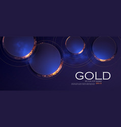 Abstract overlapping circles background with gold vector