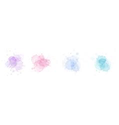 Abstract surface pastel watercolor blot set vector