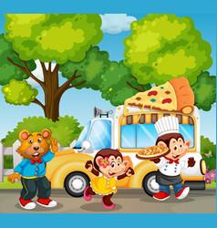 Animals serving pizza in park vector