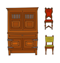 Antique furniture set - closet and chairs isolated vector