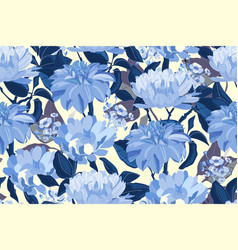 Art floral seamless pattern blue asters vector