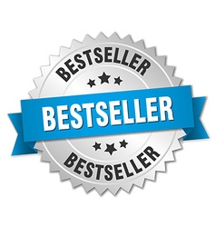 bestseller 3d silver badge with blue ribbon vector image